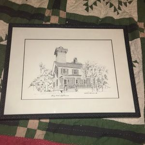 Framed Haig Point Lighthouse Picture, for sale